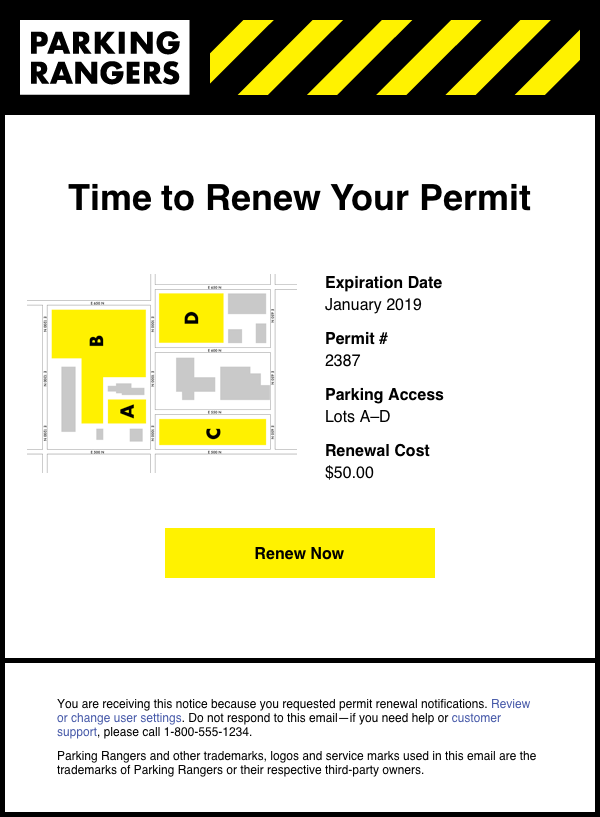 Parking Rangers Permit Renewal Email